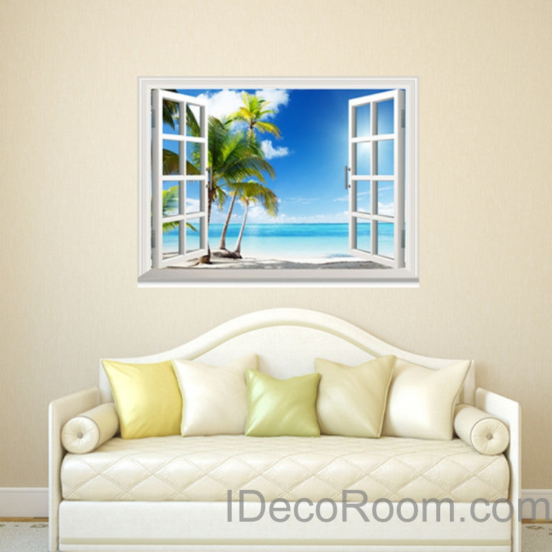 Sunshine coast palm tree cloud 3d window view removable wall decals stickers home decor arts wall