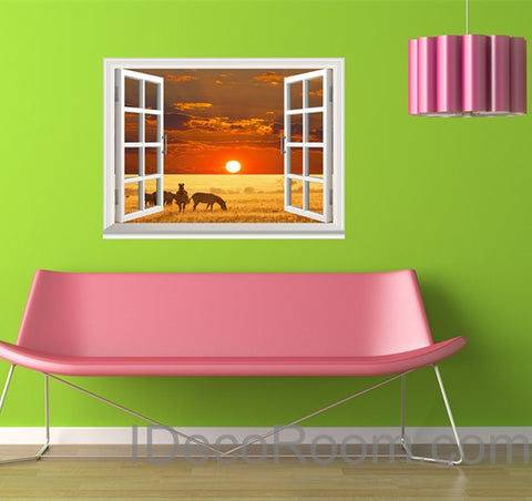 Image of Zebra African Grassland Sunset Cloud 3D Window View Removable Wall Decals Stickers Home Decor Arts Wall Mural