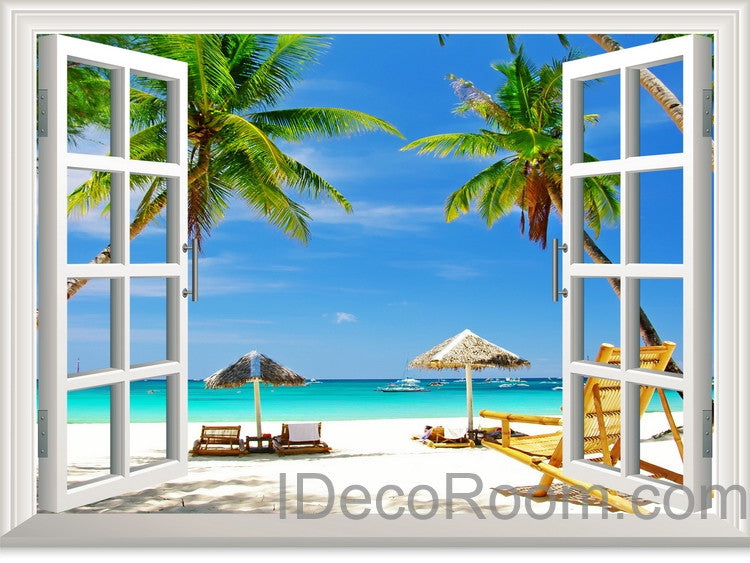 Large tropical beach palm tree 3d window view removable wall decals stickers home decor arts wall