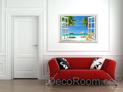 Large Tropical Beach Palm Tree 3D Window View Removable Wall Decals Stickers Home Decor Arts Wall Mural