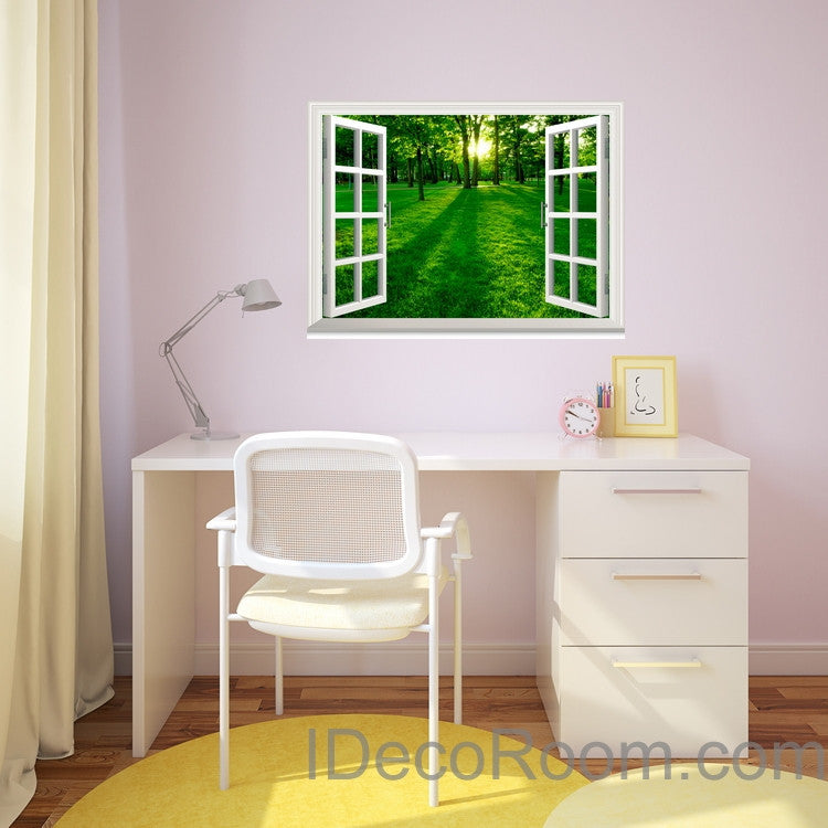 Green Forest Morning Sunshine  3D Window View Removable Wall Decals Stickers Home Decor Arts Wall Mural