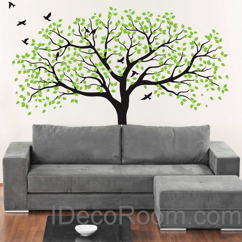 Stunning Large Poplar Birds Nursery Tree Living Room Kids Baby Wall Decals Art Stickers Mural Family Gift Home Office Business Decals