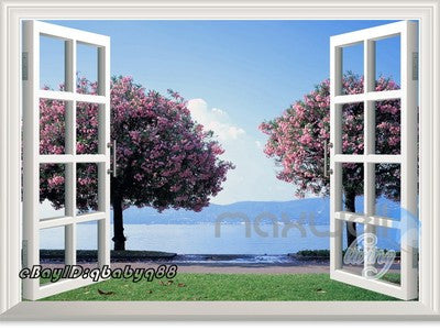 Image of Cherry Blossom Tree 3D Window View Removable Wall Decals Stickers Art Home Decor kids Mural