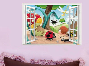 Ladybug Snail Animal World Wall Decals Art Removable Sticker Kids Nursery Decor