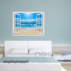 SunShine Beach Clouds Ocean 3D Window View Removable Wall Decals Home decor Room Stickers Mural Arts