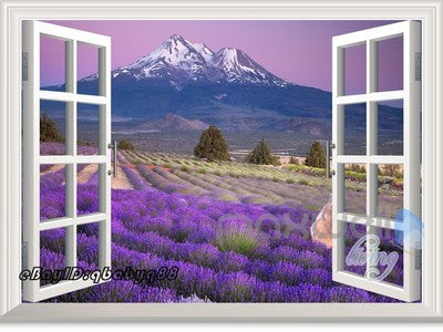 Lavender Flower Mountain 3D Window View Removable Wall Decals Stickers Home Decor Kids Art Mural
