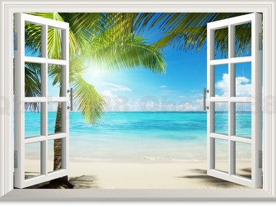 Large Sunshine Beach Palm Tree 3d Window View Removable