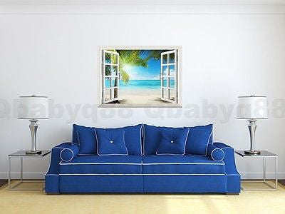 Image of Large Sunshine Beach Palm Tree 3D Window View Removable Wall Decals Stickers Home Decor Arts Mural