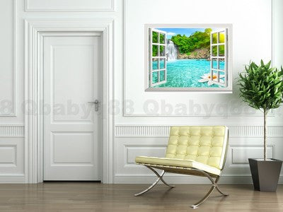 Image of Waterfall Lotus Pool Forest 3D Window View Removable Wall Decals Home Stickers Wall Art Room decor Mural