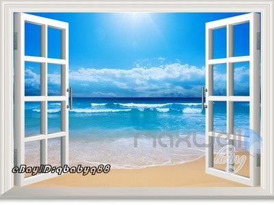 Image of SunShine Beach Clouds Ocean 3D Window View Removable Wall Decals Home decor Room Stickers Mural Arts