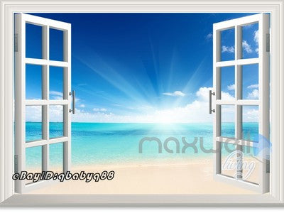 Image of Sunrise Beach Clouds Ocean 3D Window View Removable Wall Decals Home decor Room Stickers Mural Wall Arts