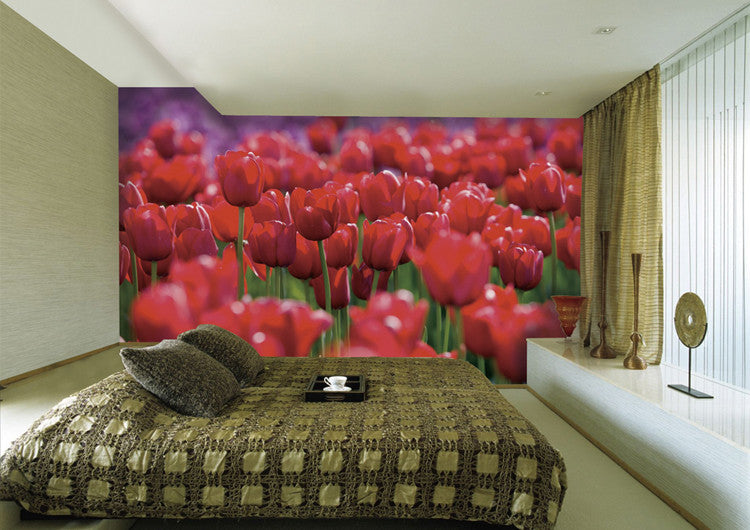 Red Tulip Wall Paper Wall Print Decal Wall Deco Indoor wall