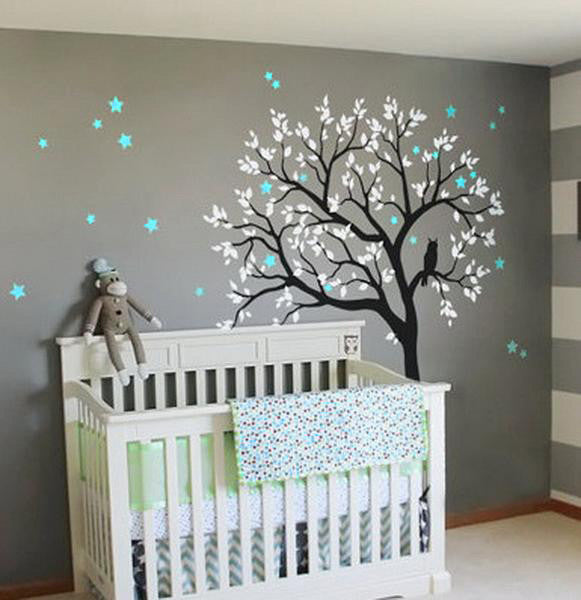 Large owl hoot star tree kids nursery decor wall decals for Baby mural wallpaper