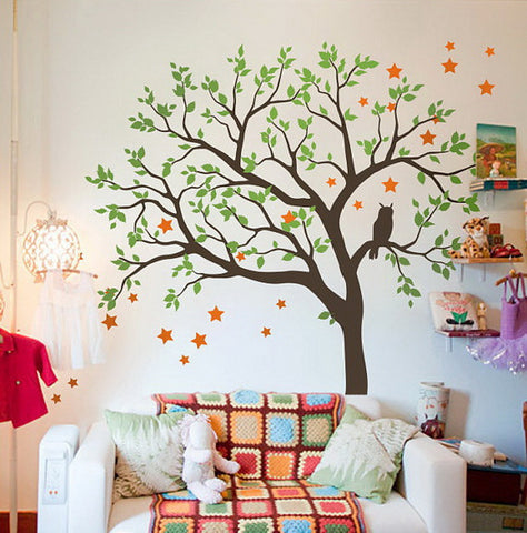 Image of Large Owl Hoot Star Tree Kids Nursery Decor Wall Decals Wall Art Baby Decor Mural Sticker