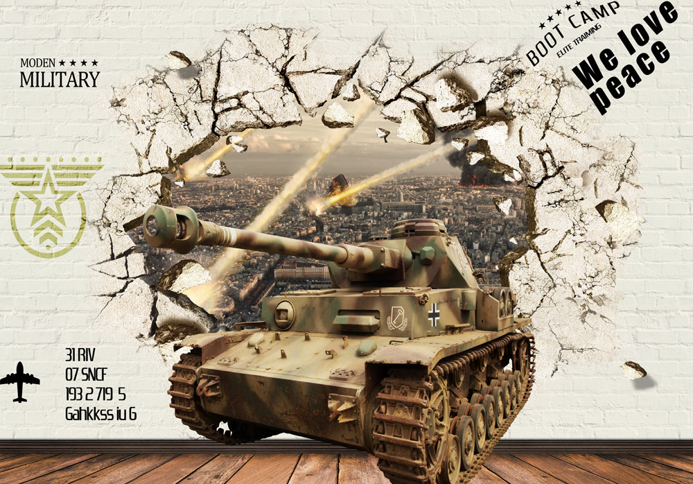 3D Tank Break Through Brick Wall Poster Art Wall Murals Wallpaper Decals Prints Decor IDCWP-JB-000340