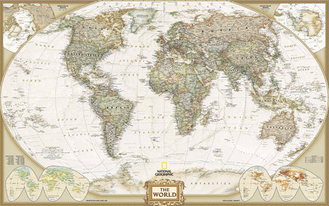 Image of Classic World Map Wallpaper Wall Decals Wall Art Print Mural Home Decor Indoor Office Business Deco IDCWP-00007m