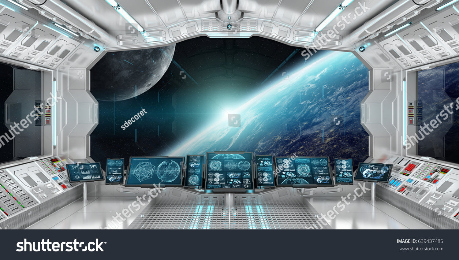 Spaceship Interior With View On Space And Planet Earth 3D Size 105X221  Inches IDCWP 284