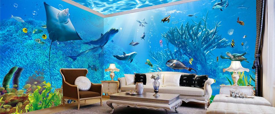 3D Underwater Rays Fish Shimmering Water Ceiling Entire Living Room Wallpaper Wall Mural