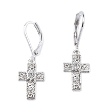 Load image into Gallery viewer, Silver Cross Earrings