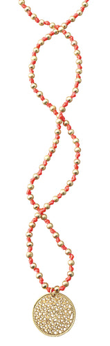 Coral and Gold Beaded Necklace