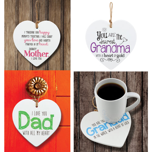 Set of 4 - Ceramic Heart Tiles with adorable quotes
