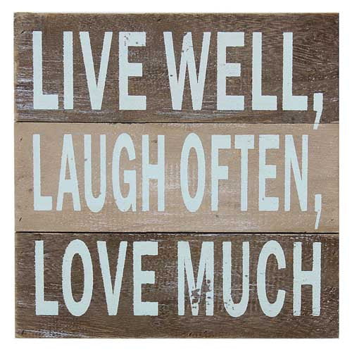 'Live Well, Laugh Often, Love Much' Wood Wall Decor