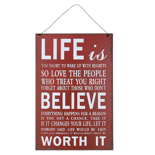 'Life is too Short' Red Metal Wall Decor