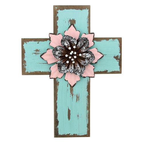 Antique Rustic Teal Wood Cross with 3D Pink Flower embellishment