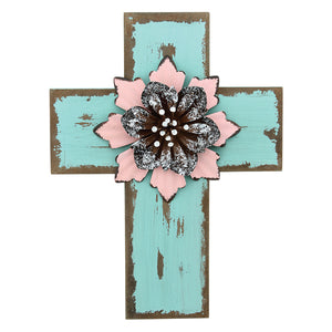 TEAL DISTRESSED CROSS