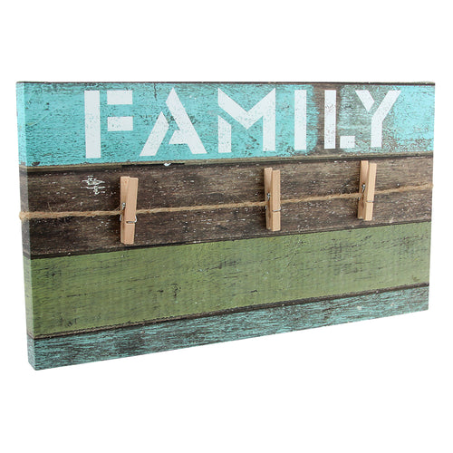 Family Wall Decor with Clothes Pins to hang pictures