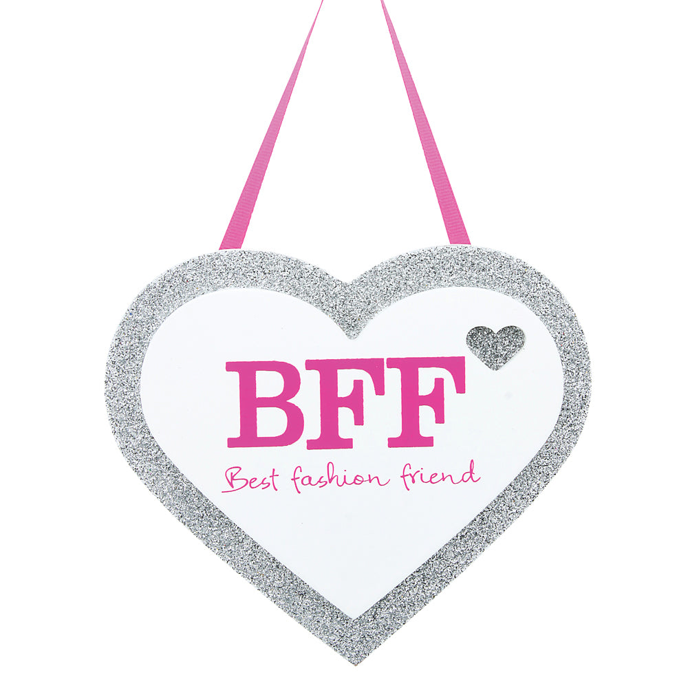 BFF silver glitter heart hangs from pink ribbon