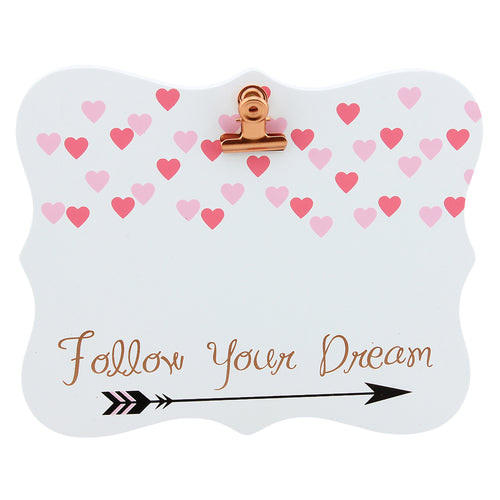 'Follow Your Dreams' Wood Decor with Clip to hang picture