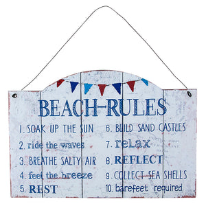 Beach Rules Metal Wall Decor