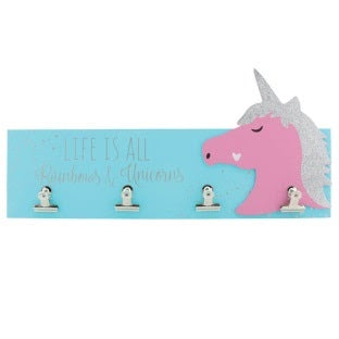 Glitter Unicorn Wood Wall Hanging with 4 clips to hang pictures on