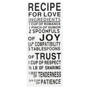 SS RECIPE FOR LOVE WOOD WALL HANGING [decoración de pared]