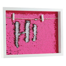 Load image into Gallery viewer, White Wood Frames Neon Pink and White sequins with 2 mini clothes pins to hang pictures