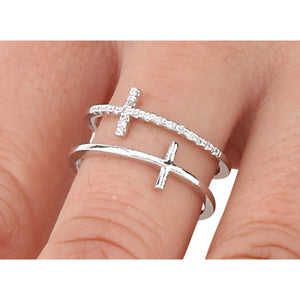 Silver Double Cross Adjustable Ring