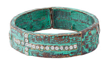 Load image into Gallery viewer, Crystal Cross Turquoise Stretch Bracelet