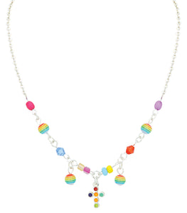 Silver necklace with multi colored beads and cross pendant for Children