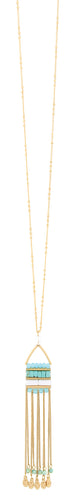 Gold Chain with Turquoise Beads and Gold Tassel Necklace