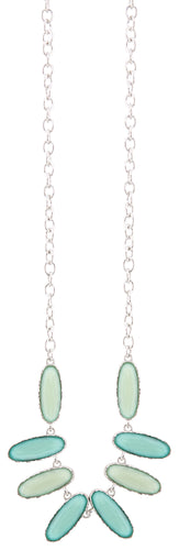 Silver Chain Multi Colored Green Beaded Necklace