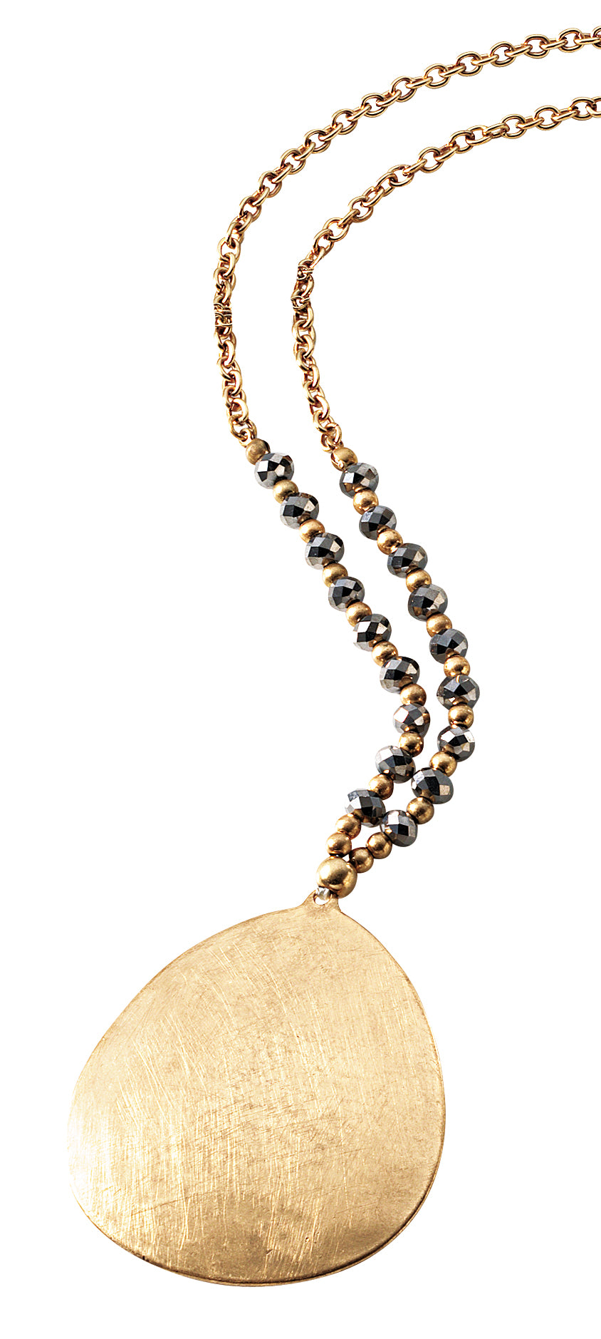 Long gold beaded chain with large gold metal disc pendant