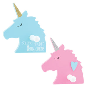 Blue and Pink Unicorns with glitter horns and hooks for hang items. Set of 2