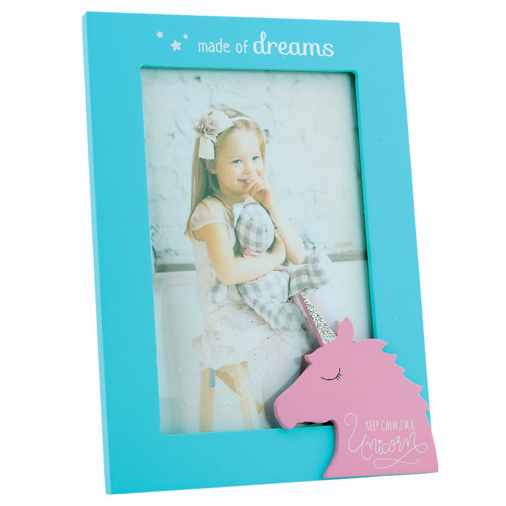 Blue and Pink Unicorn Picture Frame