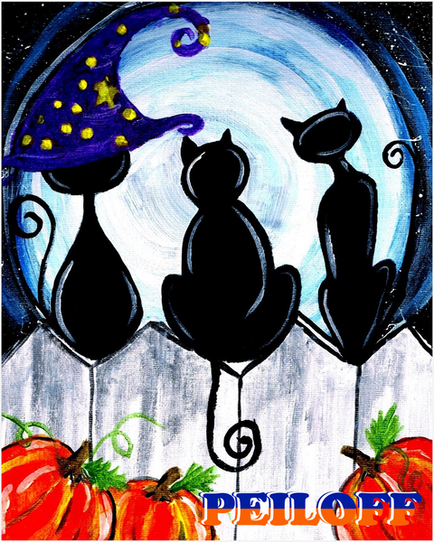 Halloween Cats on a Fence