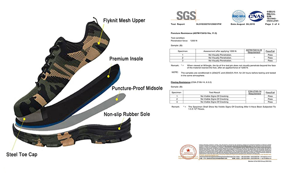 5.Cool Military camouflage safety shoes description 2