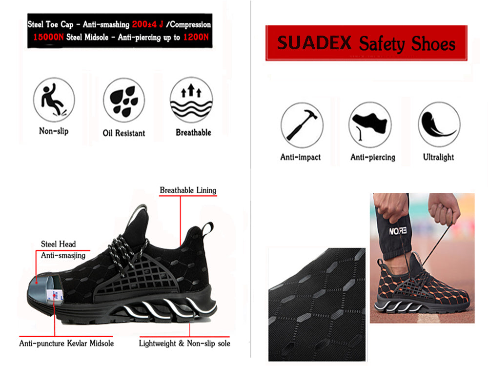 Fashion Anti-Puncture Safety Shoes Men Women Suadexshoes Details
