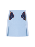 A-line printed mini skirt with zipped embroidered pockets