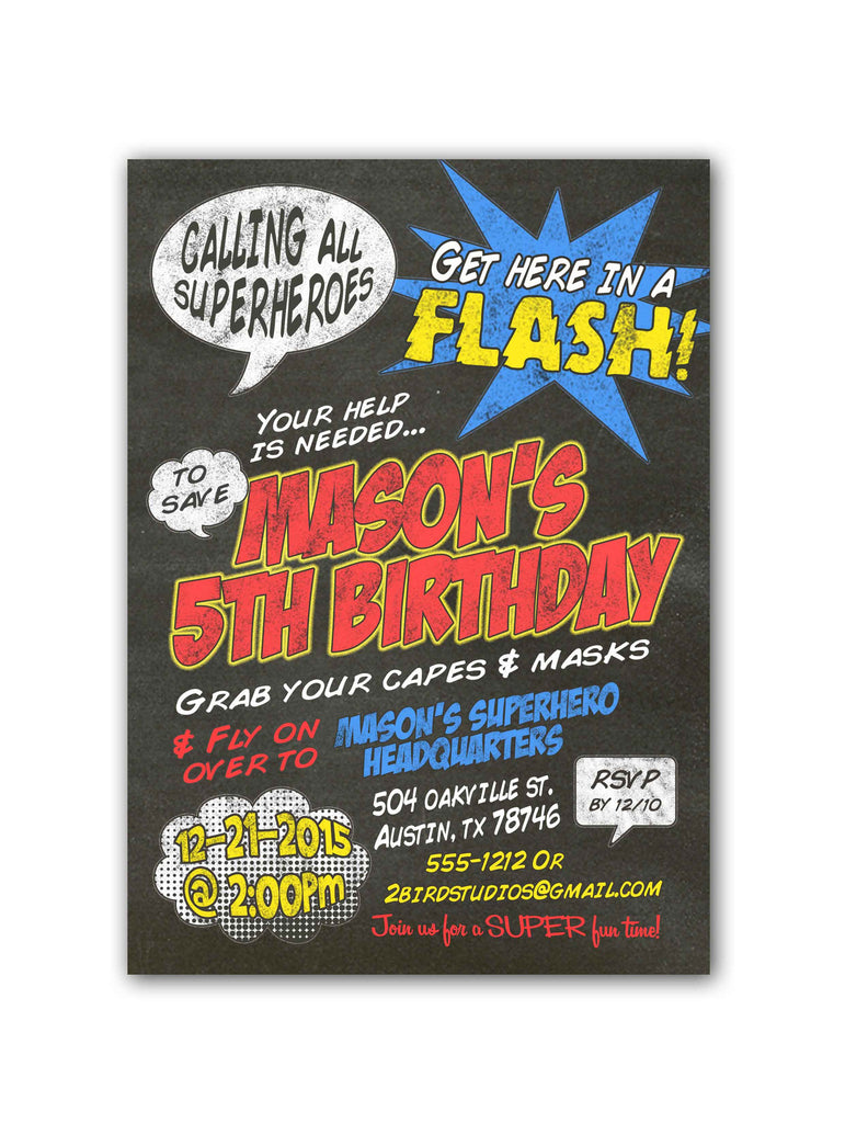 chalkboard calling all superheroes birthday party invitation 2