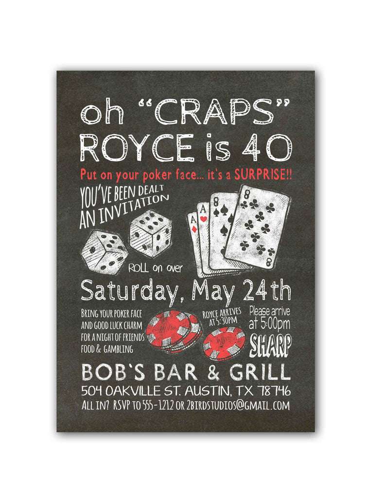 Chalkboard Casino Birthday Party Invitation Surprise 2 Bird Studios